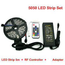 5050 RGB LED Strips Set 5m 300 LEDs Flexible Light + RF Mini Remote + Adapter