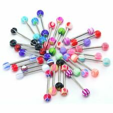 New Tongue Bars Surgical Steel Barbell Rings Mixed Ball Body Piercing Jewellery
