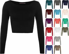 WOMENS ROUND NECK LONG SLEEVE CROP TOP T SHIRT TOPS LADIES TOP 8-14
