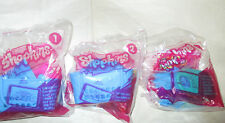 (3) MCDONALDS 2015 SHOPKINS TOYS #1  #2 #7 IN SEALED WRAP