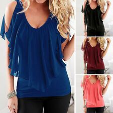 Women Ladies Summer Casual Short Sleeve Tee T Shirt Blouse Loose Tops Sexy