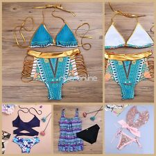 2pcs Women Bandage Beachwear Bikini Set Push-Up Swimsuit Swimwear Top & Bottom
