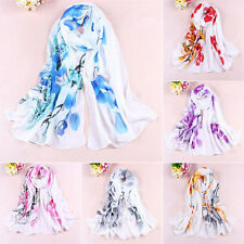 Women's Soft Ink Painting Chiffon Flower Printed Wrap Shawl Long Scarf Mirable