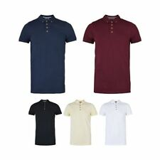 Mens Brave Soul Pique Polo Shirt Short Sleeved with  Button Collar