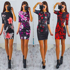 UK Womens Bodycon Long Sleeve Dress Ladies Party Evening Mini Dress Floral Print