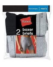 2 Pair Hanes Men's Red Label Boxer Briefs Underwear Black & Grey Size S-XL -LotA