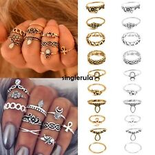 New Vintage Style 10PCS/Set Finger Ring Alloy Punk Style Carve Decor Ring SI01