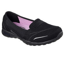 22985 Black Skechers Shoes Memory Foam Women Slip On Casual Comfort Loafer Suede