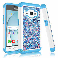 For Samsung Galaxy Express 3 / J1 Diamond Crystal Bling Case Hybrid Armor Cover