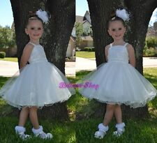 Ivory Pearls Diamante Dresses Wedding Flower Girl Party Occasion Size 2T-8 FG285