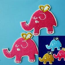 2 Elephant Iron on Sew Patch Cute Applique Badge Embroidered Animal Applique Lot