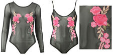WOMENS MESH CAMI STRAPPY LONG SLEEVES FLORAL EMBROIDERED LEOTARD BODYSUIT TOP