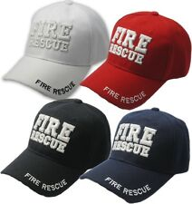 Fire Fighter Rescue Hat Baseball Cap 3D Embroidered, Black, White, Red, or Blue