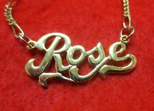 14KT GOLD EP 2MM FIGARO ANKLET OR NECKLACE WITH THE NAME ROSE CHARM PENDANT