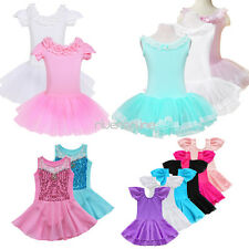 Kids Girls Flower Ballet Dress Princess Dance Gymnastic Tutu Skirt Dancewear