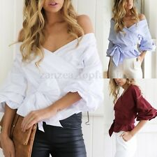 Womens Cold Off Shoulder Puff Sleeve Belted T-Shirt Casual Loose Tops Blouse