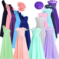 Flower Chiffon Tulle Dress Girls Party Pageant Wedding Bridesmaid Prom Ball Gown