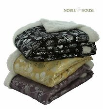 "Luxurious Soft Reversible Silver Flower Mink Plush Sherpa Throw Blanket 50""x60"""