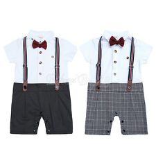 Gentleman Newborn Infant Baby Boy Romper Playsuit Bodysuit Formal Check Outfit
