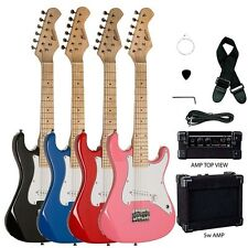 "31"" Kids Mini Electric Guitar Package with 5W Amp, Gig Bag, Strap, Cable, Picks"