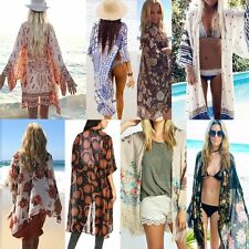 Womens Cardigan Coat Floral Printed Loose Chiffon Kimono Tops Blouse Cover Up