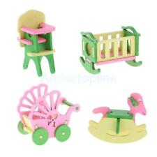 Lot 4Pcs Wooden Doll House Miniature Furniture Kids Pretend Play Toys Gifts