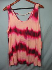 NWT Juicy Couture White and Pink Tie Dye  Womens Bar Back Tank Top