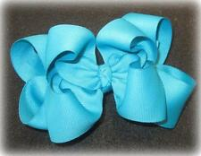 Girls hairbows Big hair bows double layer boutique bow Mystic Blue Headband Clip