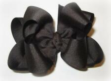 "Girls hairbows Big hair bows double layer boutique bow Brown Large Clip 4"" 5"""
