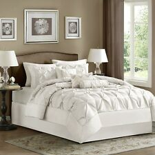 Classy Antique White Comforter, Pillow Shams, Bed Skirt AND Decorative Pillows