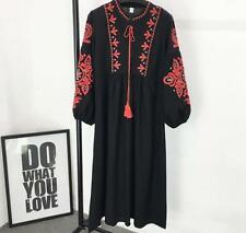 Womens Linen Floral Embroidery Puff Sleeve Casual Calf Length Dress Fashion New