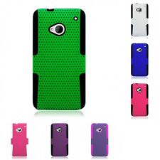 For HTC One M7 Case Hard Soft Dual Layer Slim Thin Rugged Mesh Cover