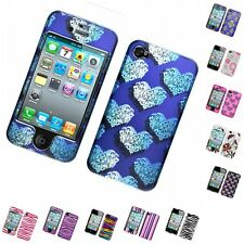 For Apple iPhone 4/4S Hard Phone Case Design Rubberized Snap-On Cover