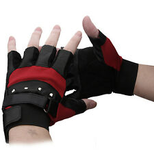 Mens Outdoor Soft Sheep Leather Driving Motorcycle Biker Fingerless Gloves black