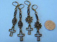 CROSS Charm Bronze Tone LEVERBACK Drop Earrings Handcrafted Opt: Daisy or Flower