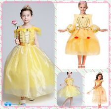 Beauty and the Beast Cosplay Kids Princess Belle Dress Costume Fancy Party Dress