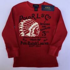 Ralph Lauren polo boys red thermal indian head shirt 3 3t nwt $29 nwt
