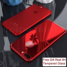 Red Original Ultra thin Hard Back Case Tempered Glass Cover For iPhone 6s 7 Plus