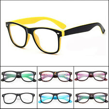 Colorful Retro Unisex Mens Womens Clear Lens Wrap Nerd Geek Glasses Eyewear lot