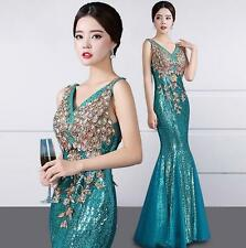 New womens lady long mermaid dress gorgeous maxi V neck prom evening party dress