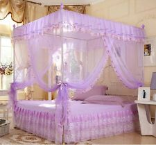 Purple 4 Corners Post  Bed Canopy Mosquito Netting Or Frame Twin Full Queen King