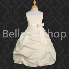 Satin Pick Up Dress Flower Girl Wedding Communion Pageant Party Size 4T-13 FG034
