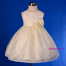 Lace Ivory Party Pageant Wedding Flower Girl Dress Size Baby 9m to Toddler 4 276