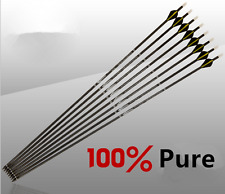 "12pcs Pure Carbon Arrows Spine300/400 3 Feathers 31"" Shaft Archery Hunting"