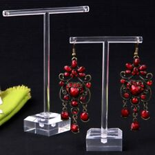 2pcs/Set Clear Plastic Earrings Showcase Display T Bar Stand Holder Organizer PN