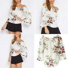 Vintage Womens Casual Floral Off Shoulder Bell Sleeve Chiffon Blouse Shirt Top
