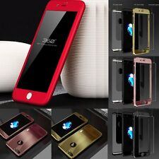 Rubber Rose Gold Red Slim Shockproof Case Tempered Glass for iPhone 7 6S 5 Plus