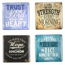 SET OF 4 Fridge Magnet Vintage Graphics Inspirational Magnets Christian Decor