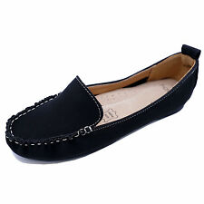 LADIES BLACK SLIP-ON LEATHER WORK MOCCASIN CASUAL COMFORT LOAFER SHOES SIZE 3-8