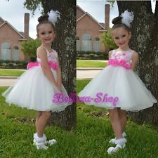 One Shoulder Embossed Flower Girl Dress Up Wedding Pageant Party Size 2T-9 FG281